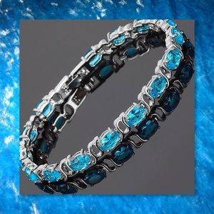 JUST IN🆕 Oval Aquamarine White GF Tennis Bracelet